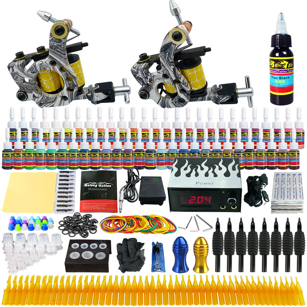 ФОТО Starter Beginner Complete Tattoo Kit Professional Tattoo Machine Kit Rotary Machine Guns 54 Inks Power Supply Needle Grips TK260