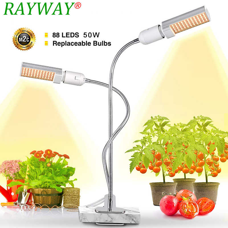 plantas Sunlike Fito Led Grow Light 50W lámpara de espectro completo para plantas macetas flor vegetal  plantas regulables