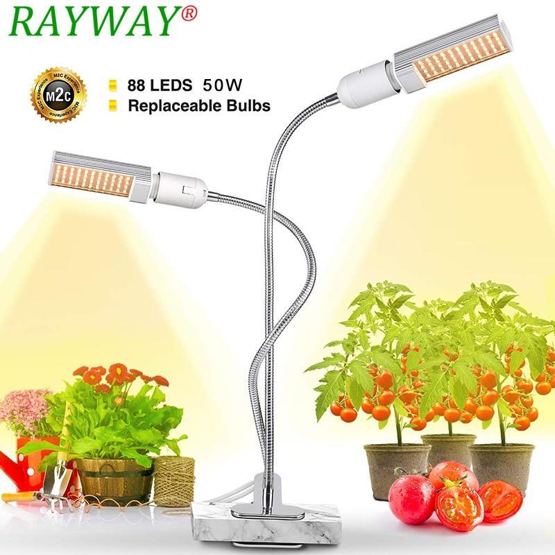Lámpara Led Grow Light Sunlike De Espectro Completo Para Plantas Macetas De Flores Vegetales 50 W 88 Leds De Plantas Regulables Con Temporizador De Enchufe Usb FáCil De Usar