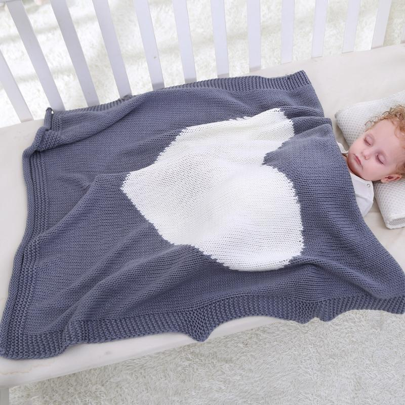 Baby Blanket Cute Heart Shape Knitting Kids Blanket Bedding Swaddle Quilt Baby Play Blanket 4 Colors