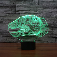 Dinosaur Head 3d Led Lamp Novelty Wholesale Usb Nightlight Creative Electronic Products Usb Led 3d Light Fixtures