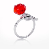 rose flower glass with 925 silver ring