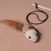 Novel Funny Cat Teaser Pet Play Length Interactive Toy Wand Mouse Feather