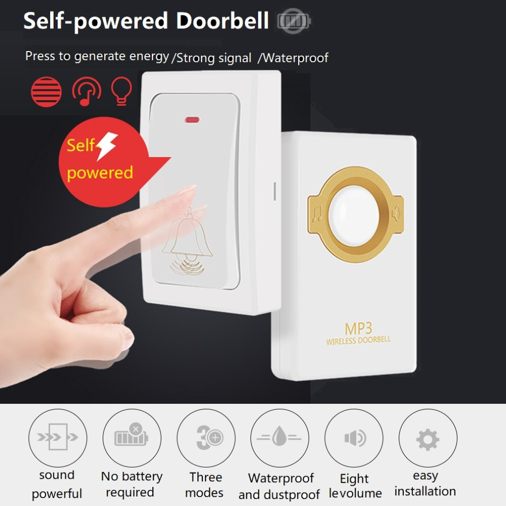 LESHP Novelty Wireless Doorbell Self-powered Remote Button And Receiver MP3 Digital Long Range IP47 Waterproof For Home Security