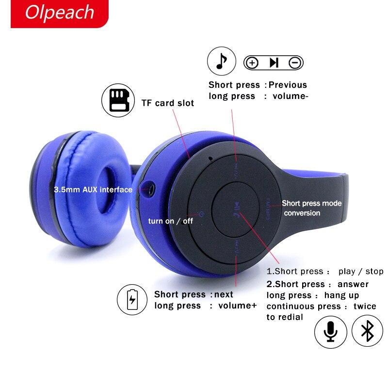 Olpeach BH10 bluetooth headset wireless headphone deformation earphone support tf card and listen to the radio fm bh 23 wireless headphone