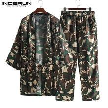 INCERUN полиэстер мужская мода камуфляж рубашка длинные свободные халаты высокого качества кардиган личную комфортную 2019 пижамы