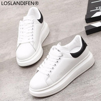 2018 Spring New Designer Wedges White Shoes Female Platform Sneakers Women Tenis Feminino Casual Female Shoes Vulcanize Woman