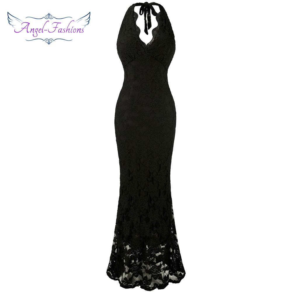 Angel-fashions Halter Sleeveless Lace vestidos de noche Long   Evening     Dresses   Black 160 425 439 416 418