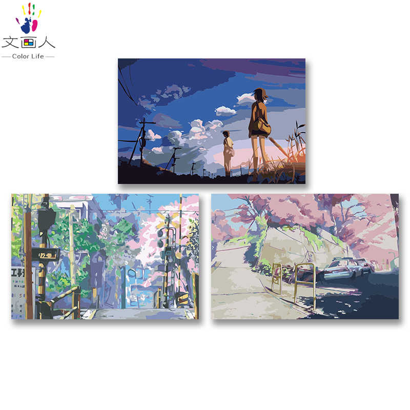 DIY colorings pictures by numbers with colors 5 Centimeters per Second Xinhaicheng picture drawing painting by numbers framed