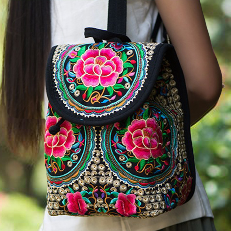 New Chinese Floral Embroidery Women Backpack Hot Original National Embroidered Ethnic Canvas Small Flap Backpack Sac A Dos Femme