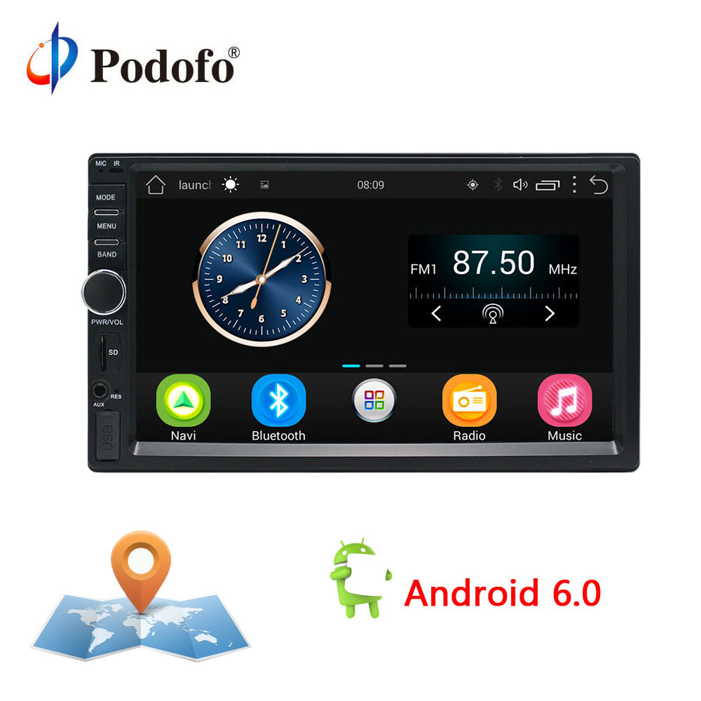 Podofo 2 Din Android Car Radio Stereo 7 Car Player GPS Navigation Wifi Bluetooth USB Radio Audio Player Touch Screen Multimedia