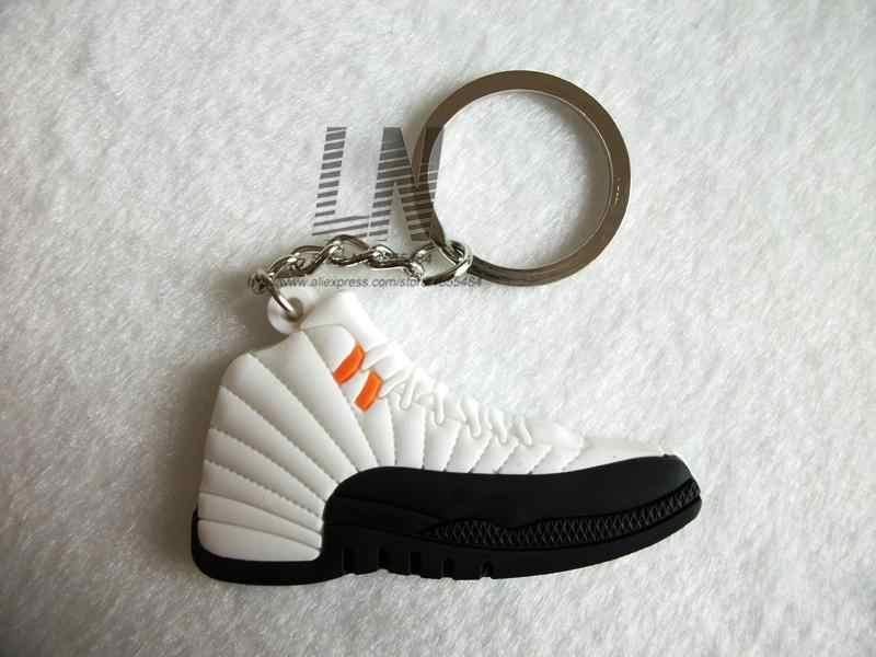 ミニシリコーンジョーダン 12 キーホルダーバッグチャーム女性男性子供キーリングギフトスニーカーキーホルダーペンダントアクセサリー靴キーチェーン