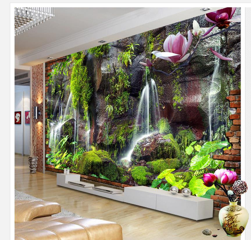 3D mountain green water Falls TV background wall decoration painting window mural wallpaper Home Decoration 3d dinosaur removable wall stickers animals room window decoration