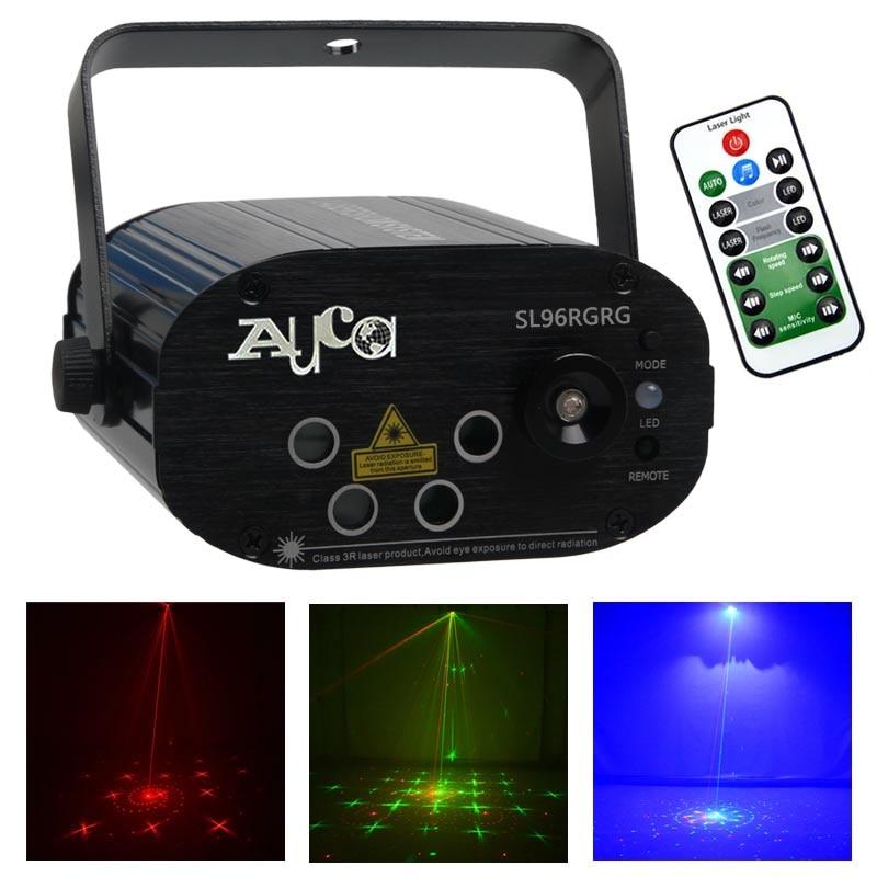 Mini télécommande musique 96 motif rouge vert Laser effet projecteur lumières 3W bleu lampe à LED accueil fête spectacle scène éclairage SL96RGRG