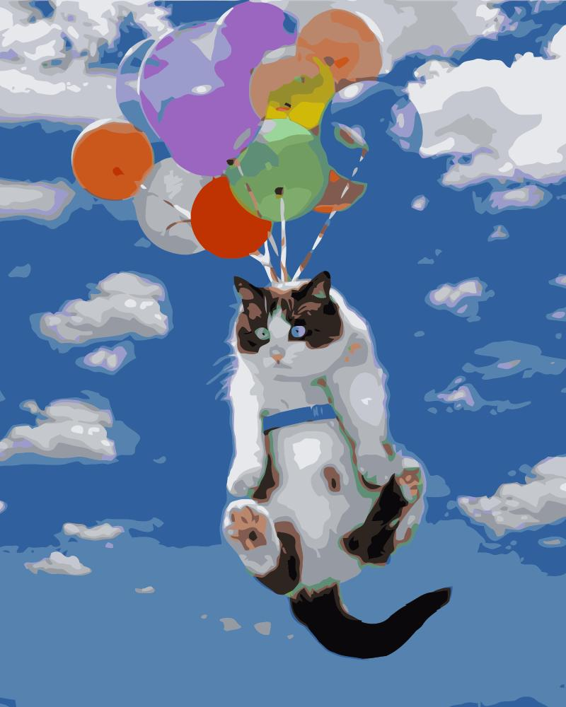 Ev Ve Bahce Ten Resim Ve Hat De Mahuaf J490 Ucan Kedi Balonlar