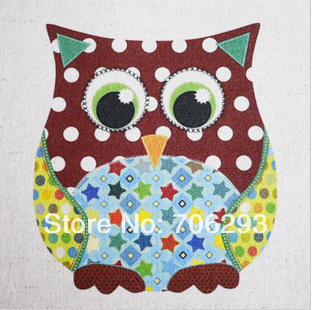 Hand dyed Cotton Linen Printed Quilt Fabric For DIY Sewing Patchwork Home Textile Decor 30x30cm Cute Owl
