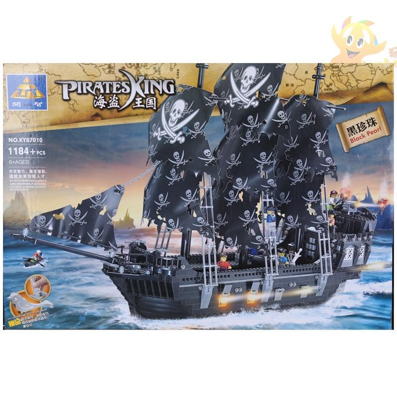 Building Block Sets Compatible with lego ship pirates king 87010 1184pcs 3D Construction Brick Educational Hobbies Toys for Kids