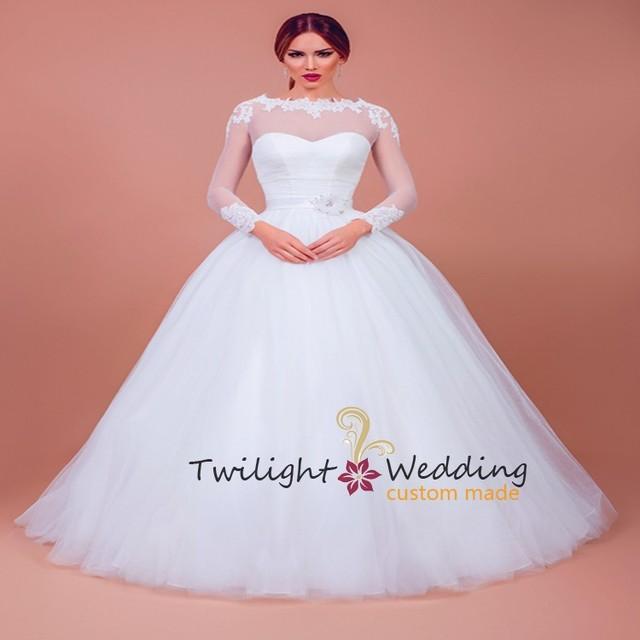 2015 estilo cenicienta de la boda vestidos de manga larga mujer de ...