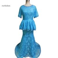 ruthshen Vestido de festa Fashion longo Short Sleeve Party Gowns Mermaid Long Lace Evening Dress Elegant Nigeria Style Dresses