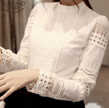 Women elegant hollow out lace Slim chiffon blouse (size S-XXL)