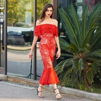 Tanpell off the shoulder cocktail dress red lace short sleeves tea length mermaid gown lady party formal custom cocktail dresses