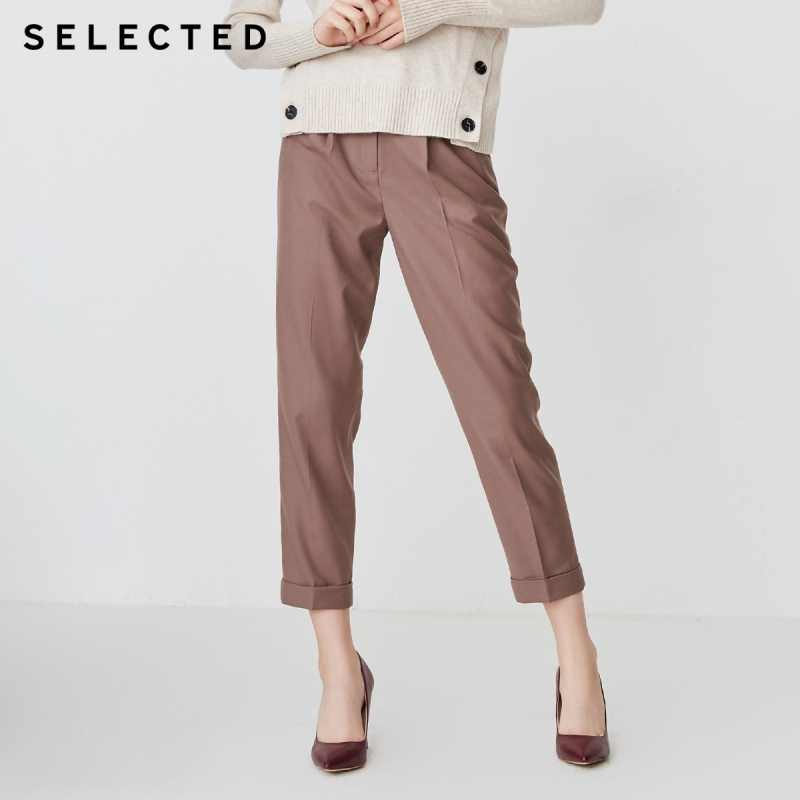 SELECTED Women's Pure Color Wool-blend Crop Pants S|418414513