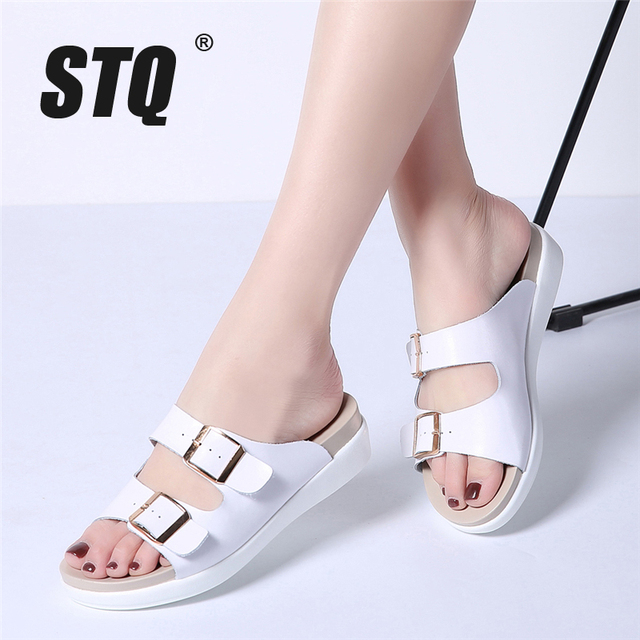 27af2ec24d5c20 STQ 2018 Women flip flops summer flat slides sandals women button outdoor  slippers shoes ladies white