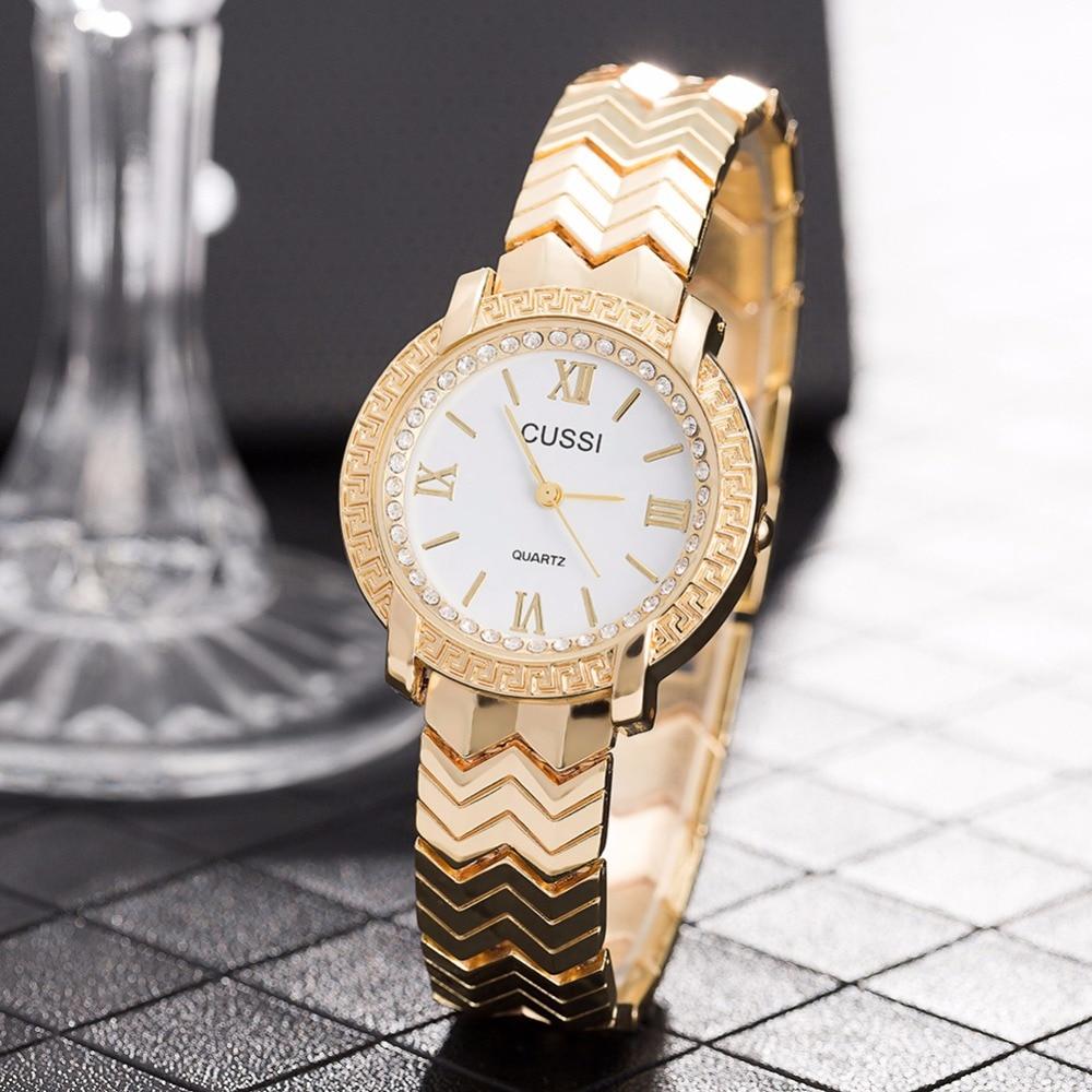CUSSI 2018 Womens Watches Golden Luxury Ladies Bracelet Watch Quality and Stylish Quartz Wristwatch reloj mujer Valentine's Gift cussi 49