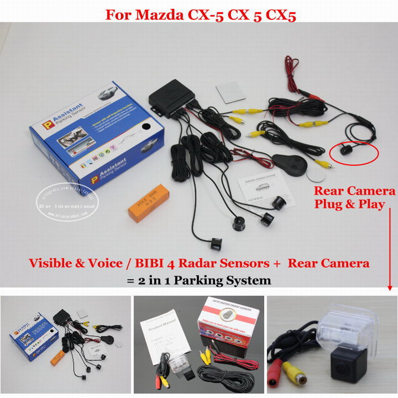 For Mazda CX-5 CX 5 CX5 - Car Parking Sensors + Rear View Camera = 2 in 1 Visual / BIBI Alarm Parking System пена монтажная макрофлекс shaketec всесезонная 750мл