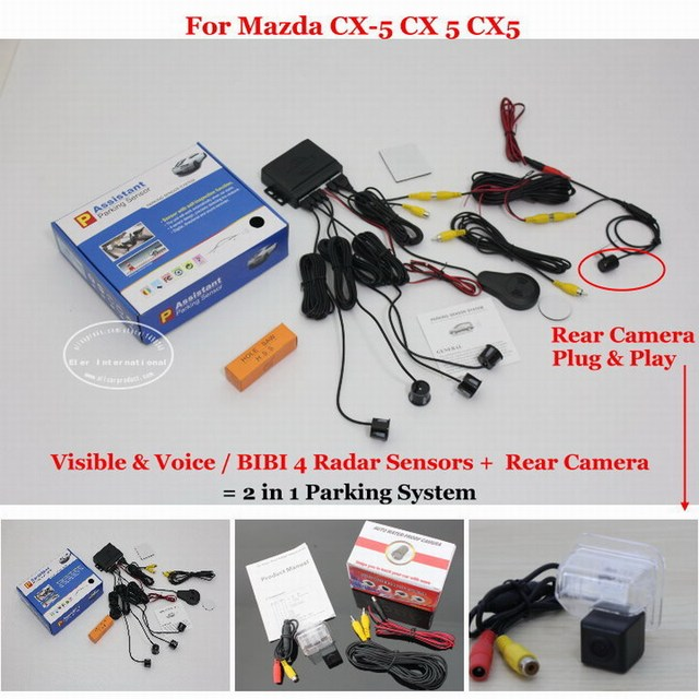For Mazda CX-5 CX 5 CX5 - Car Parking Sensors + Rear View Camera = 2 in 1 Visual / BIBI Alarm Parking System