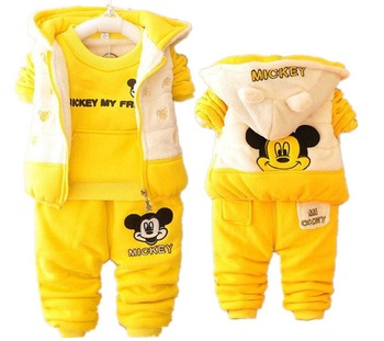 1-4years 3 Pieces Bayi Pakaian Musim Dingin Set Tebal Pakaian Hangat Musim Dingin Jaket Mantel untuk Bayi Perempuan Anak Laki-laki Kartun Minnie Pakaian set