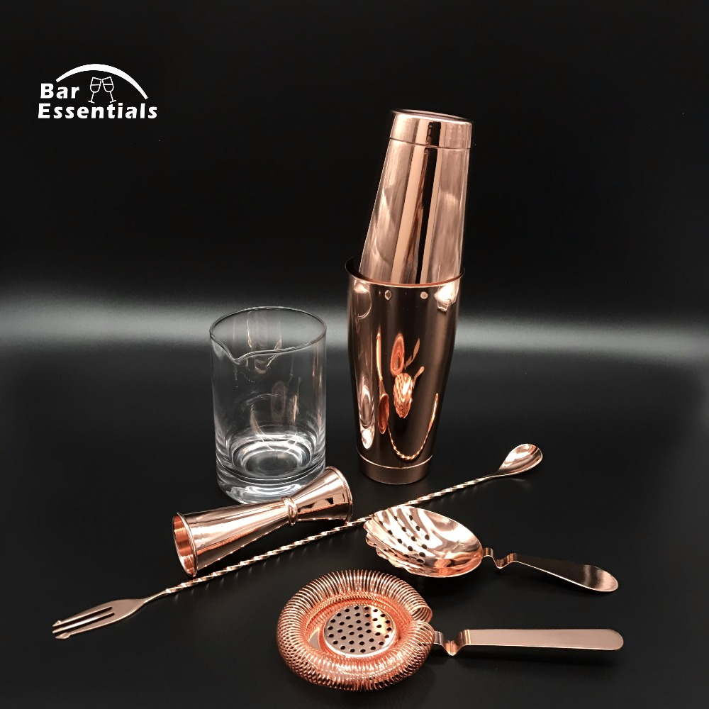 Free Shipping Copper Version 6 Piece Bar Set Boston Cocktail Shaker Bartending Set Including Mixing Glass