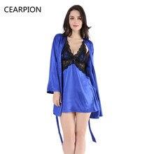 956454ddb1 CEARPION Lady Lace Pajama Robe Set Nightgown Kimono Bathrobe Gown Women  Sexy Nighties Nightdress Long Sleeve Sleepwear Lingerie