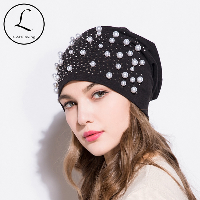 31abc5a74e0 GZHILOVINGL New Women s Beanie Hat Polyester Cotton Summer Thin Shiny  Rhinestone Pearl Beanie Hats Slouchy Beanies