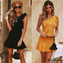 цена на Women Bandage Bodycon Dress Sexy Summer Solid Sleeveless Short Mini Dress Backless Evening Party Beach Dresses Elegant Hot Sale