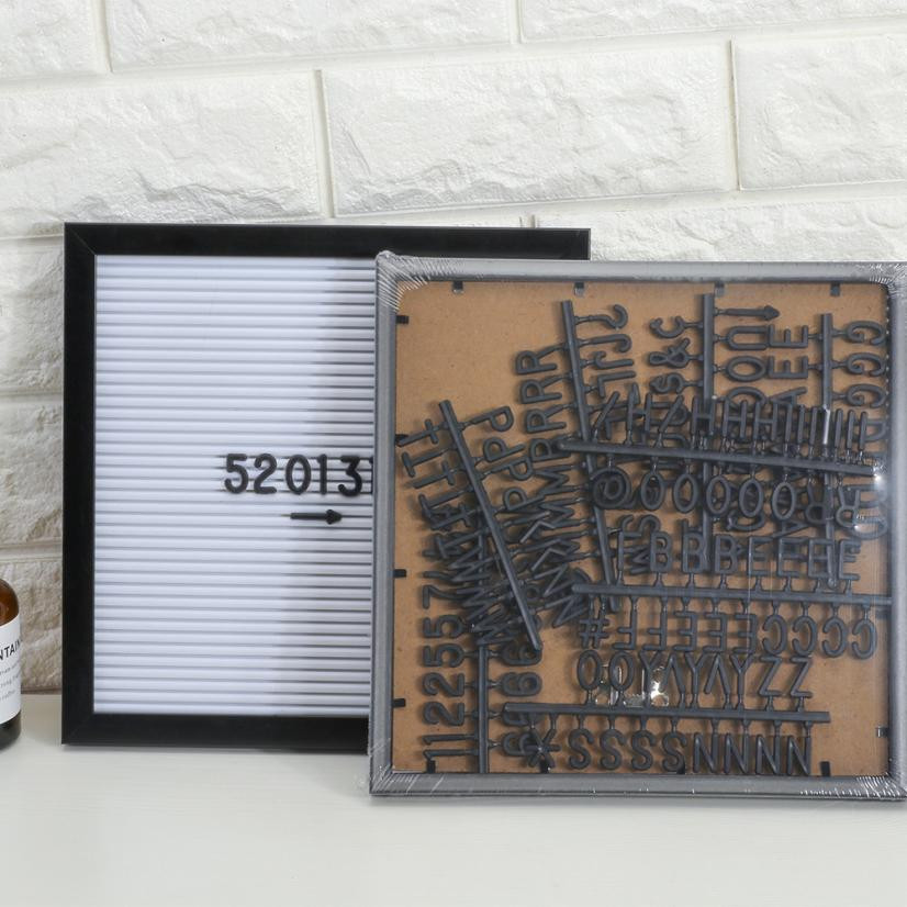 25*25cm Felt Letter Board Sign Message Home Office Decor Board Oak Frame White Letters Symbols Numbers Characters Bag