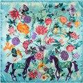 2017 Новые Цветы Цветочные Птицы Лошадь Шелк Чувство Шарф Женщины Люксовый Бренд 90 см Квадратные Шарфы Богемия Пашмины Моды Шарфы