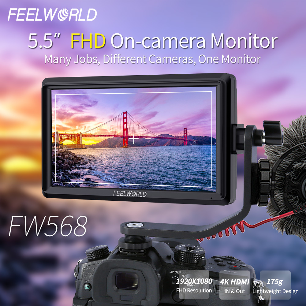 FEELWORLD FW568 da 5.5 pollici Sul Campo Della Macchina Fotografica DSLR Monitor Piccolo Full HD 1920x1080 IPS Video Focus Assist 4 K HDMI Include Tilt BraccioFEELWORLD FW568 da 5.5 pollici Sul Campo Della Macchina Fotografica DSLR Monitor Piccolo Full HD 1920x1080 IPS Video Focus Assist 4 K HDMI Include Tilt Braccio