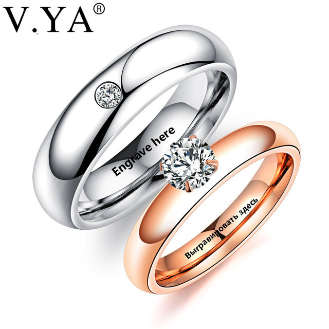US $3 08 10% OFF V YA Romantic DIY Custom Rings For Lover Stainless Steel  Crystal Couple Rings For Engagement Party Jewelry Wedding Band Dropship-in