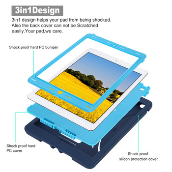 Case For Apple ipad Air Case Heavy Duty Dust/Shock Proof Rubber Hard Tablet Case for ipad air Stand Cover Case with pens