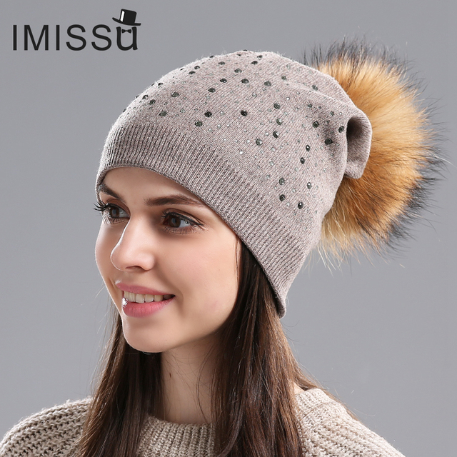 IMISSU Brand New Women's Winter Hats Knitted Wool Skullies Casual Beanie with Real Raccoon Fur Pompom Solid Colors Bonnet Femme