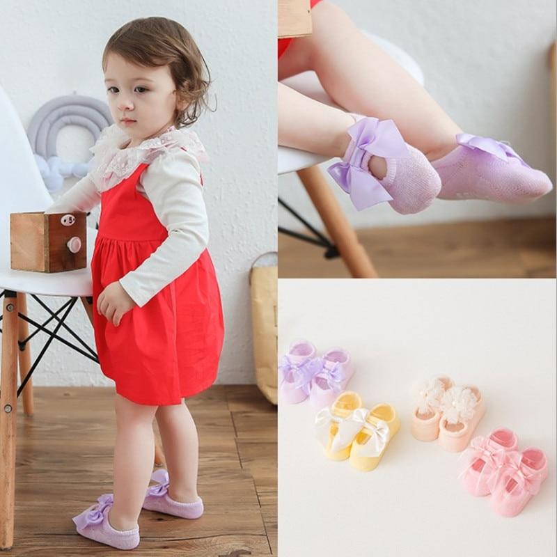 Baby bow socks girls Anti-Slip socks infant stuff newborn toddler 2018 new fashion bebe sock crib shoes sunmmer clothes for gir