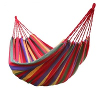 New Two person Portable Hammock Canvas Stripe Hang Bed Hammock Outdoor Hammock Garden Sports Home Travel Camping Swing