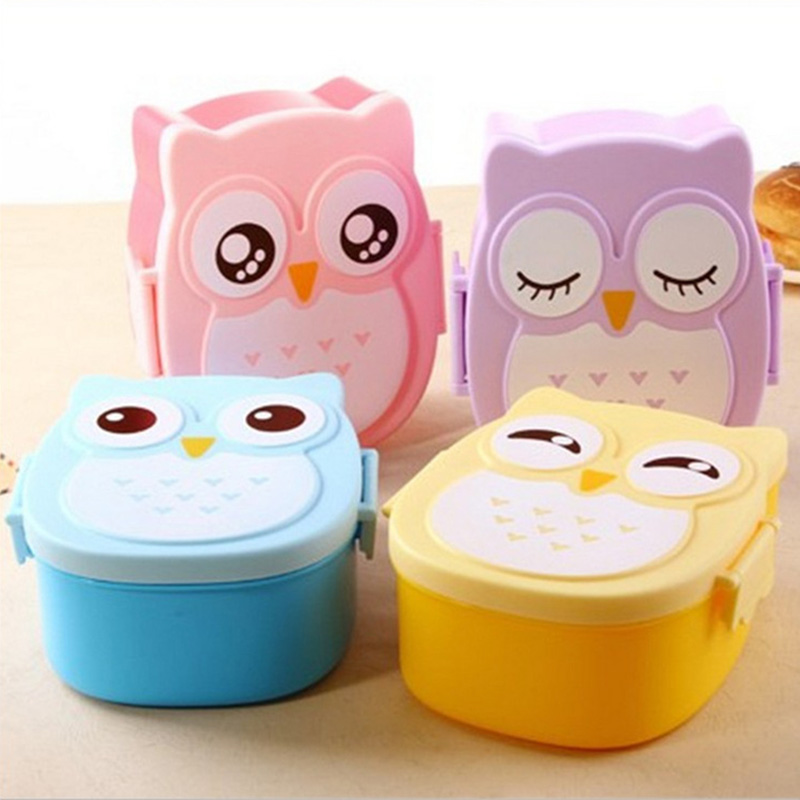 Cartoon Baby Food Dishes Owl Portable Box Children Bento Container Fruit Snack Storage Boxes Outdoor Travel Safety T2159
