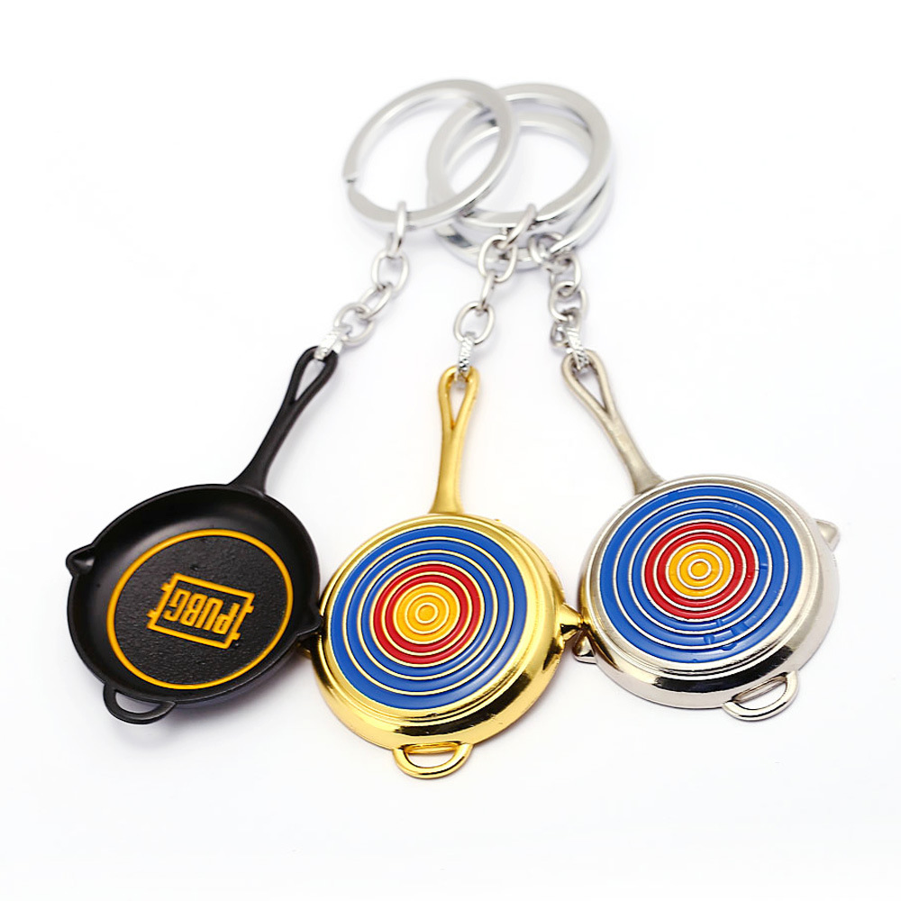 Game Playerunknowns Battlegrounds Saucepan Keychain Keyholder Captain America Shield Keychain for Car Pendant porte clef