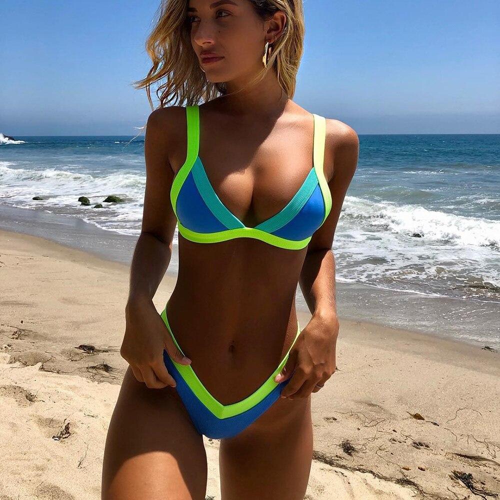 High Cut Patchwork Bikini 2019 Bandeau Swimsuit Female