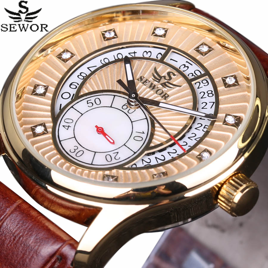 SEWOR Royal Diamond Design Top Luxury Brand Business Men Watches Date Rattrapante Clock Automatic Mechanical Watch Leather Strap