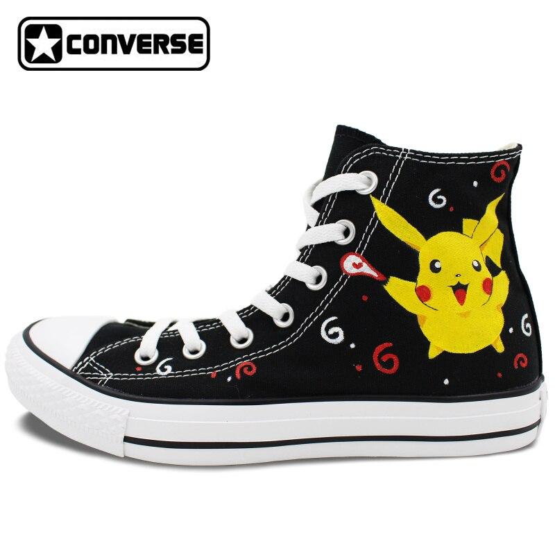 Prix pour Pikachu Converse Chuck Taylor Noir Femmes Hommes Chaussures Anime Pokemon Design Peint À La Main Chaussures High Top Filles Garçons Sneakers Cadeaux