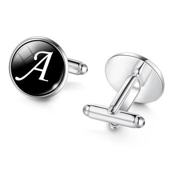 Men's Fashion A-Z Single Alphabet Cufflinks Silver Color Letter Cuff Button 1