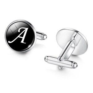 الرجال الأزياء A-Z واحدة الأبجدية أزرار أكمام الفضة اللون إلكتروني صفعة زر للذكور شهم قميص الزفاف صفعة الروابط هدايا